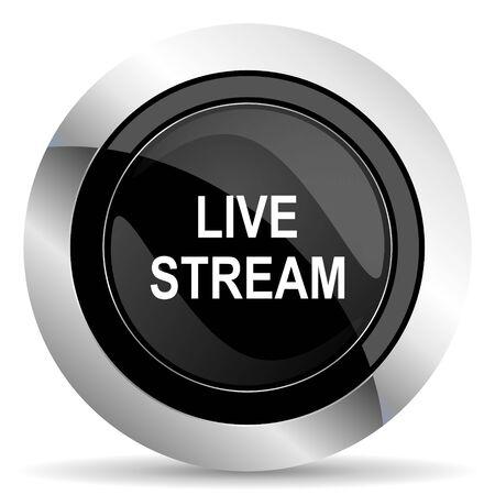 live stream button: live stream icon, black chrome button