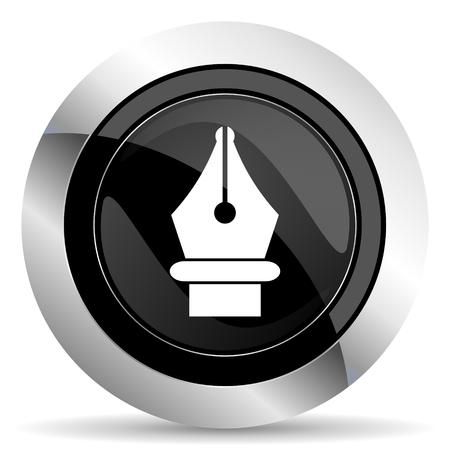 pen icon: pen icon, black chrome button Stock Photo