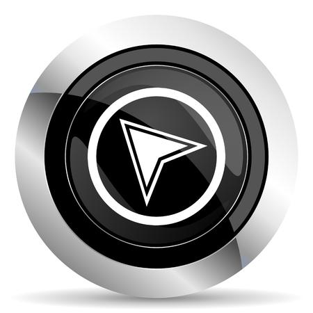 navigation icon: navigation icon, black chrome button
