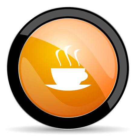 caffee: espresso orange icon hot cup of caffee sign Stock Photo