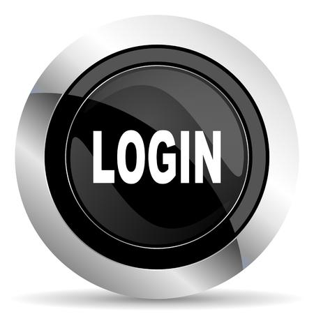 login icon: login icon, black chrome button Stock Photo