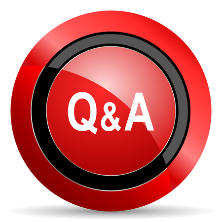 question and answer: question answer red glossy web icon