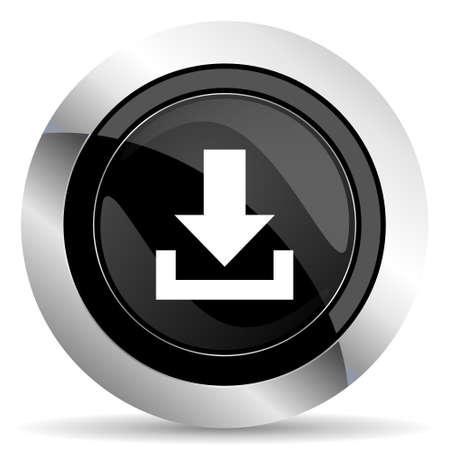 chrome: download icon, black chrome button Stock Photo