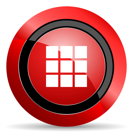 thumbnails: thumbnails grid red glossy web icon