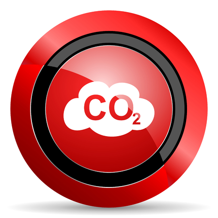 dioxide: carbon dioxide red glossy web icon