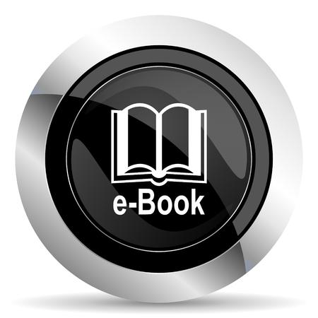 chrome: book icon, black chrome button, e-book sign