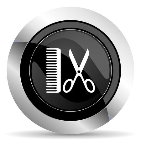 barber: barber icon, black chrome button