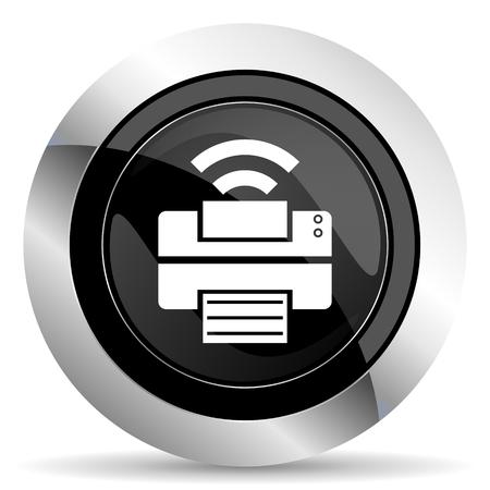 printer icon: printer icon, black chrome button, wireless print sign Stock Photo