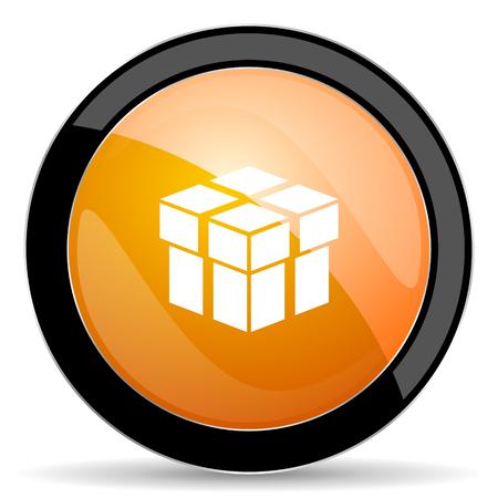 round button: box orange icon