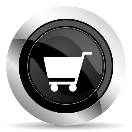 chrome cart: cart icon, black chrome button, shop sign