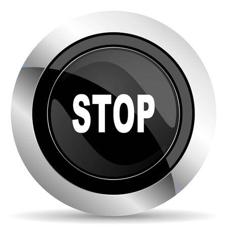 confirm confirmation: stop icon, black chrome button