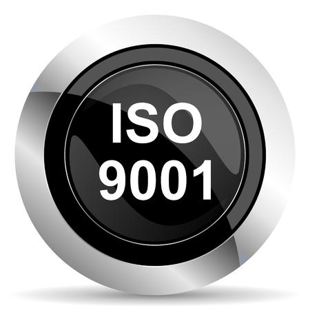 standard steel: iso 9001 icon, black chrome button Stock Photo