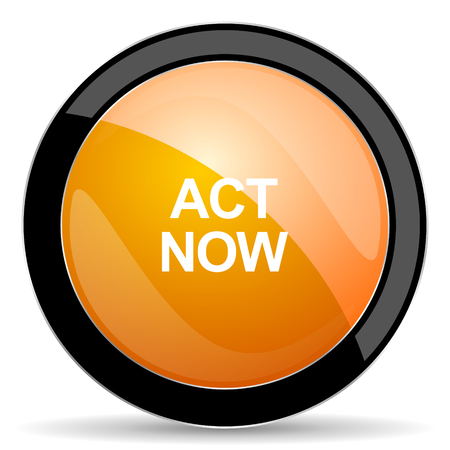 act now orange icon Stock Photo