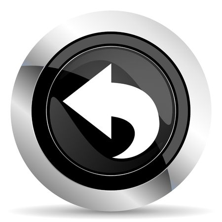 back icon: back icon, black chrome button, arrow sign Stock Photo