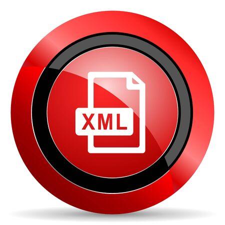 xml: xml file red glossy web icon Stock Photo