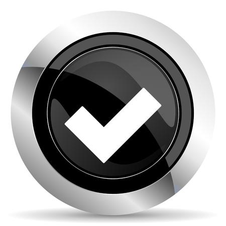 chrome: accept icon, black chrome button, check sign