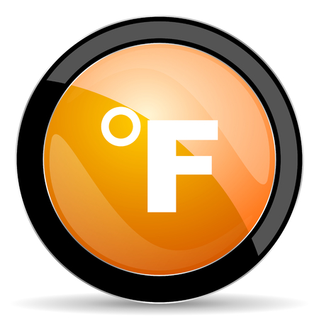 fahrenheit: fahrenheit orange icon temperature unit sign