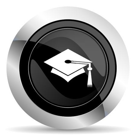 chrome: education icon, black chrome button, graduation sign