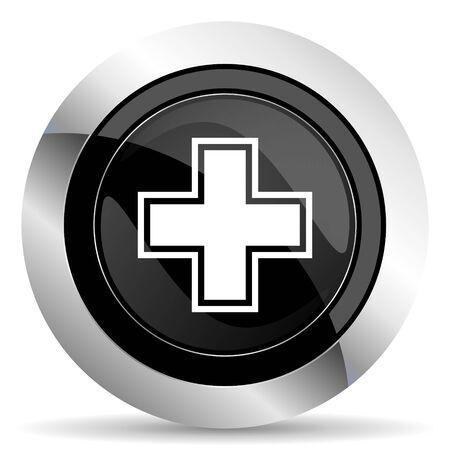 pharmacy icon: pharmacy icon, black chrome button