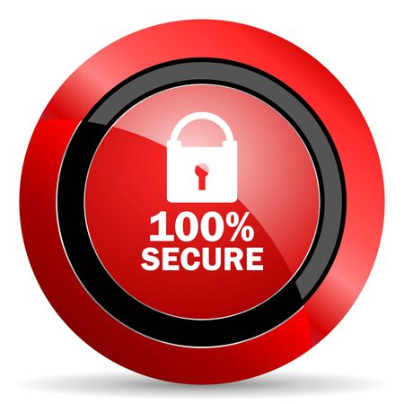 secure: secure red glossy web icon