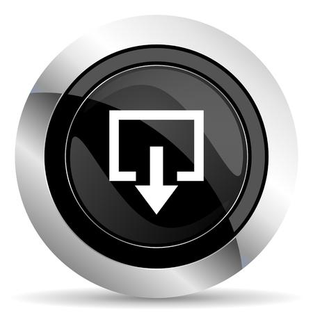 exit icon: exit icon, black chrome button Stock Photo