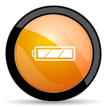 round button: battery orange icon charging symbol power sign Stock Photo