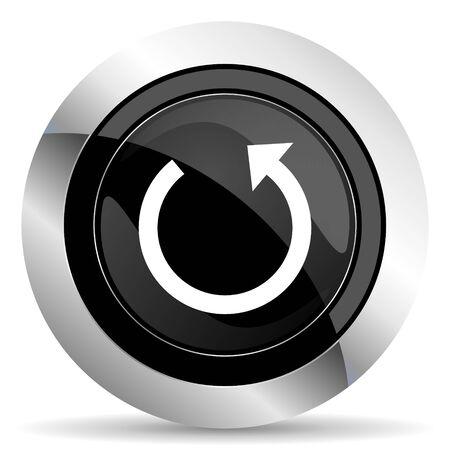 rotate icon: rotate icon, black chrome button, reload sign Stock Photo