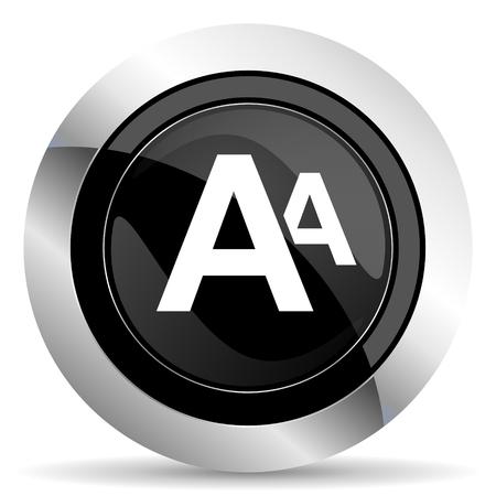 chrome: alphabet icon, black chrome button Stock Photo