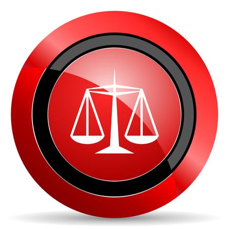 icono web: justicia icono rojo brillante Web