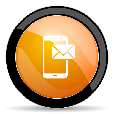 contact icon: mail orange icon post sign