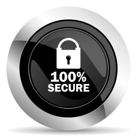 secure icon: secure icon, black chrome button
