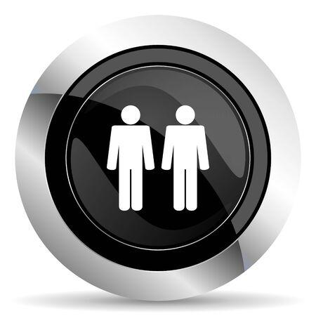 chrome man: couple icon, black chrome button, people sign, team symbol