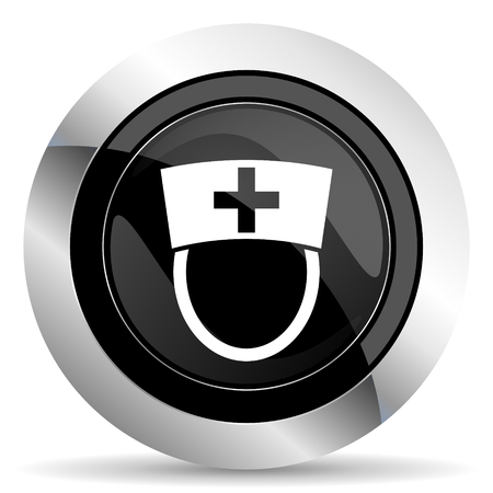 chrome: nurse icon, black chrome button, hospital sign