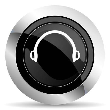 chrome: headphones icon, black chrome button