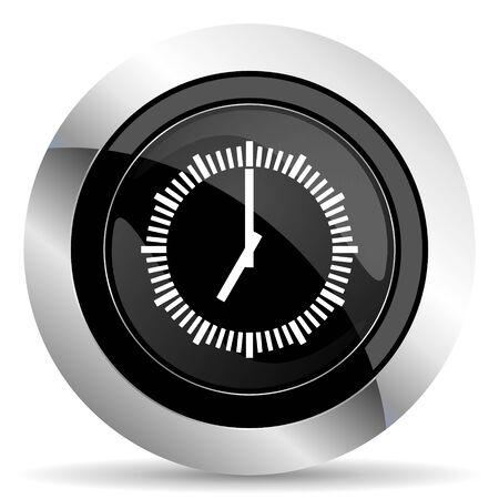 chrome: time icon, black chrome button, clock sign Stock Photo