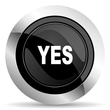 yes icon: yes icon, black chrome button Stock Photo