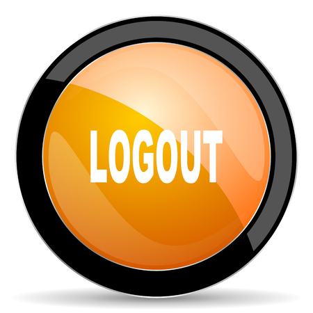 logout: logout orange icon Stock Photo