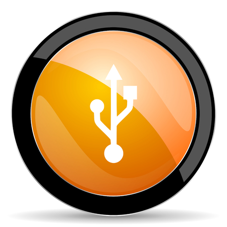flash memory: usb orange icon flash memory sign