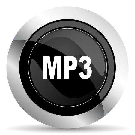 chrome: mp3 icon, black chrome button Stock Photo