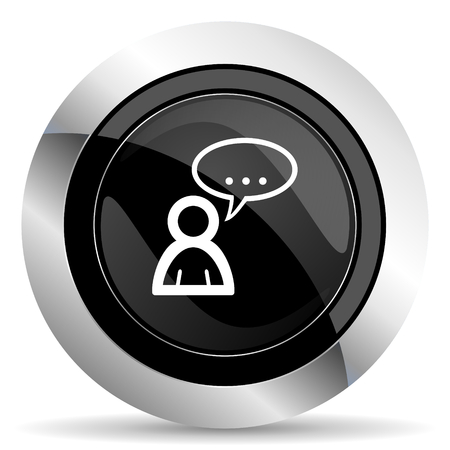 forum icon: forum icon, black chrome button, chat symbol, bubble sign Stock Photo