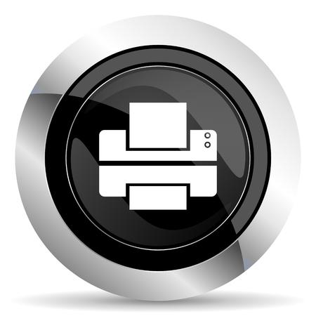 chrome: printer icon, black chrome button, print sign