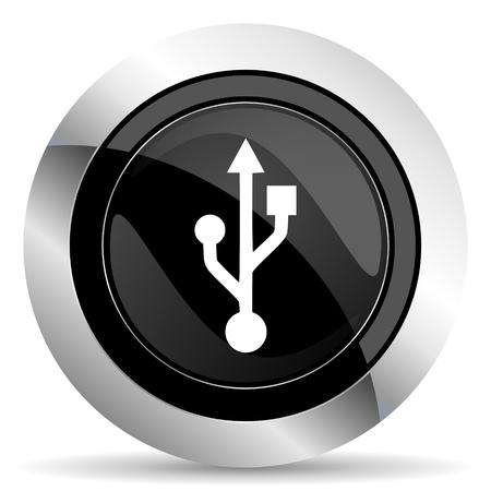 flash memory: usb icon, black chrome button, flash memory sign Stock Photo