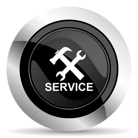 chrome: service icon, black chrome button Stock Photo