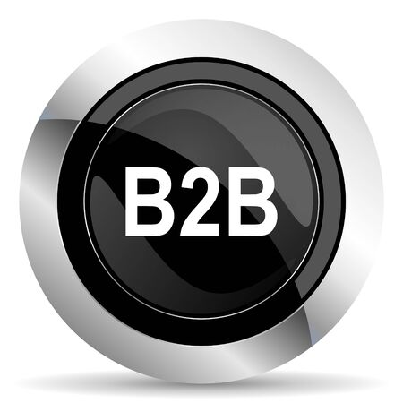b2b: icono b2b botón, cromo negro