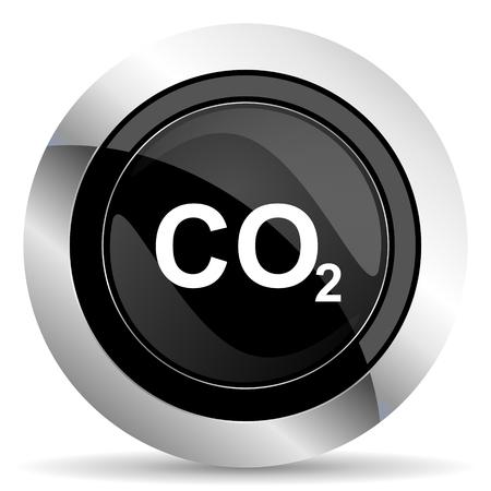 dioxido de carbono: icono de dióxido de carbono, el botón de cromo negro, signo de co2 Foto de archivo