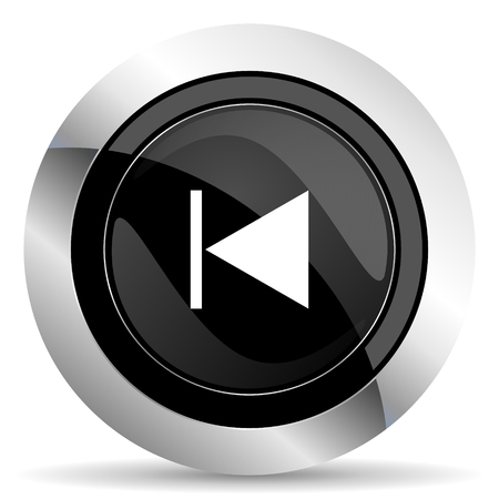 previous: previous icon, black chrome button Stock Photo
