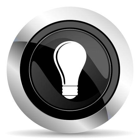 bulb icon: bulb icon, black chrome button, idea sign Stock Photo