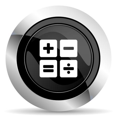 calc: calculator icon, black chrome button, calc sign