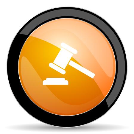 auction: auction orange icon court sign verdict symbol Stock Photo
