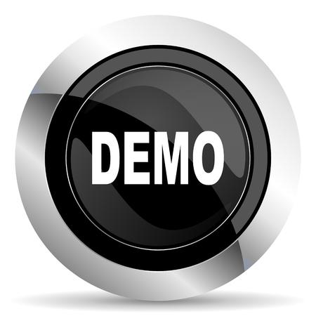demo: demo icon, black chrome button Stock Photo